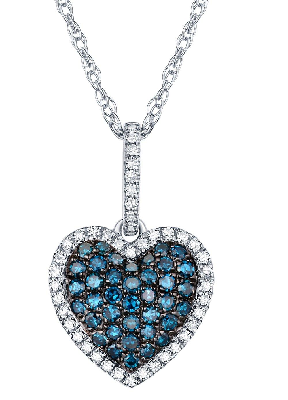 0.37Ct Round Blue Diamond & White Diamond Puffed Dome Heart Pendant With Chain, 10k White Gold