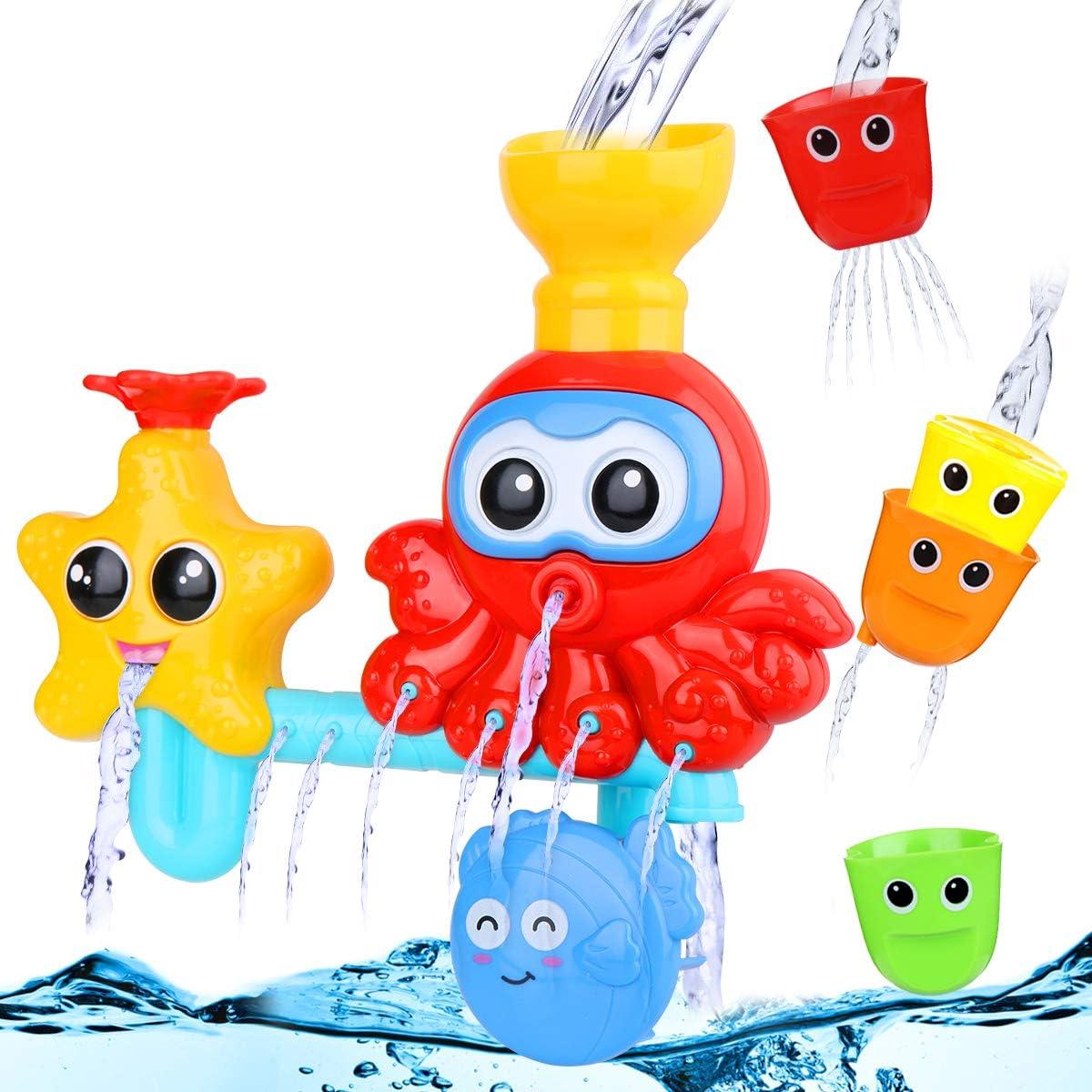Lehoo Castle Badespielzeug Baby ab 1 Jahr Badewannenspielzeug mit BAU-Puzzle Autorennbahn 24 St/ück Wasserspielzeug Badespielzeug Kinder 2-in-1 Fischernetz Spielzeug