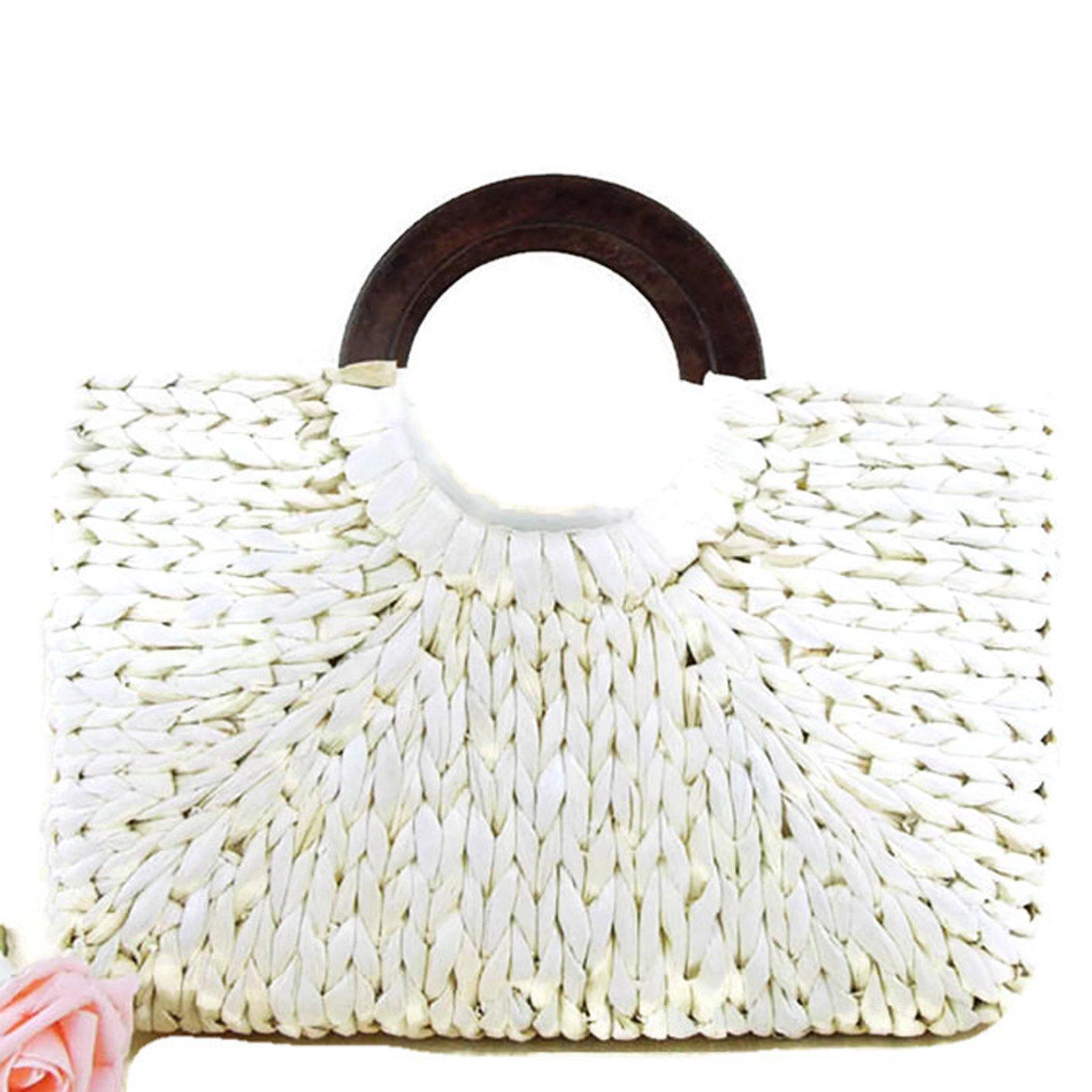 Top Handle Straw Handbag | Casual Women Satchel | Travel Tote | Everyday Large Bag (White)