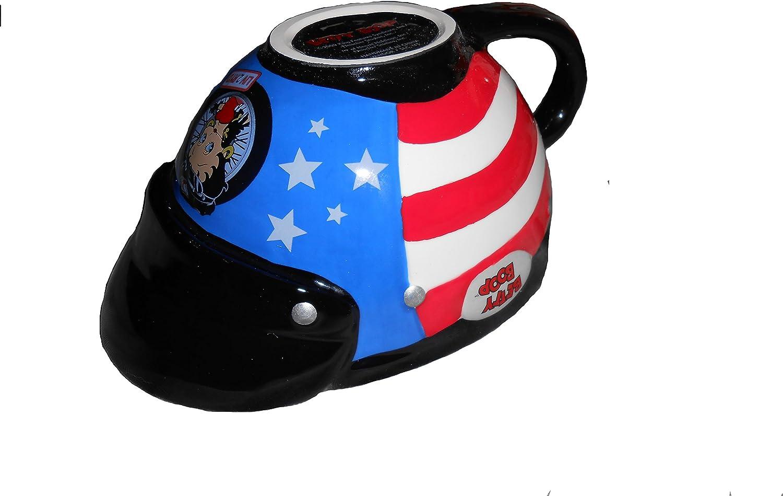 Betty Boop Ceramic Motorcycle Helmet American Flag Latte Coffee Mug Cup