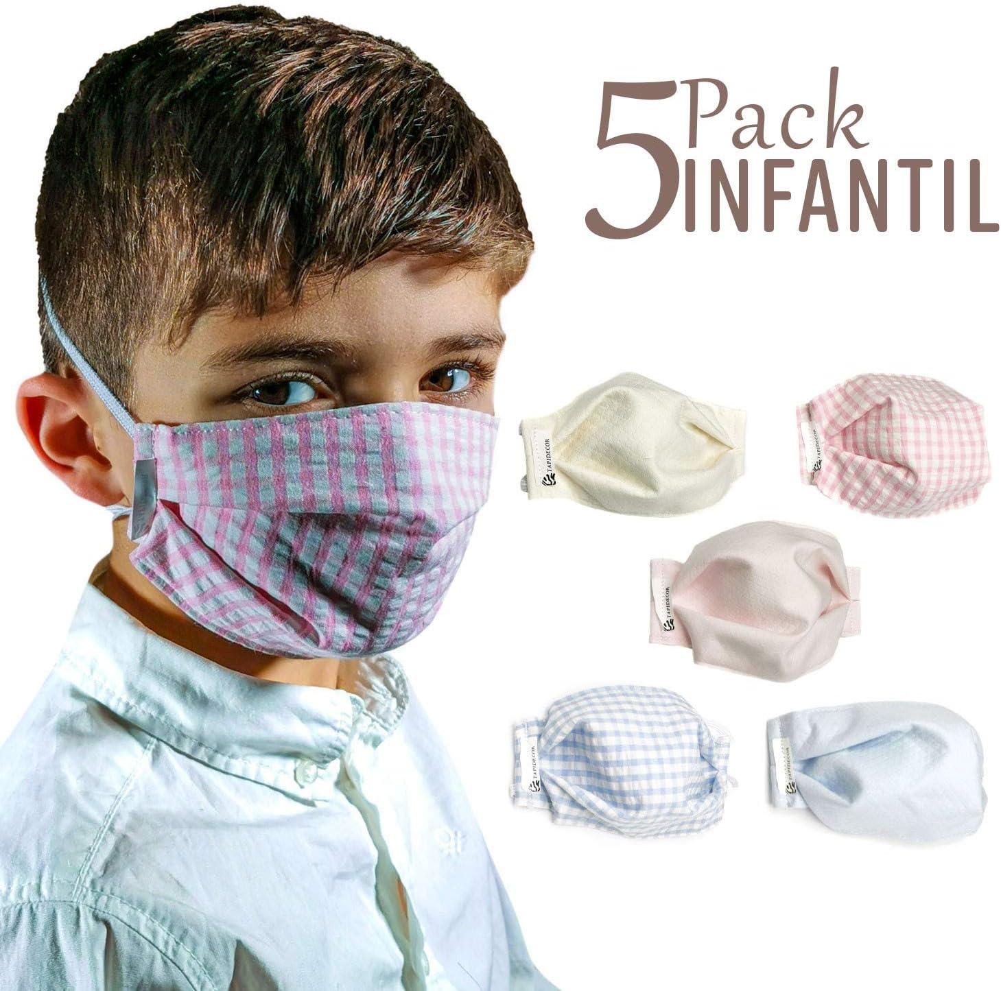 tapidecor Pack 5 Mascarillas Infantiles Lavables Reutilizables 3 Capas Algodón Doble Ajuste elástico