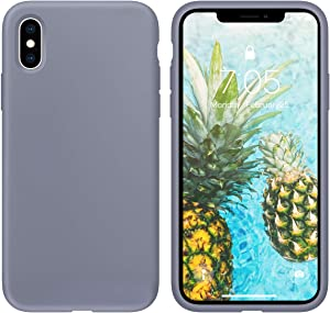 OUXUL Case for iPhone X/iPhone Xs 5.8 inch Liquid Silicone Gel Rubber Phone Case, Full Body Slim Soft Microfiber Lining Cushion Shockproof Protective Case(Lavender Gray)