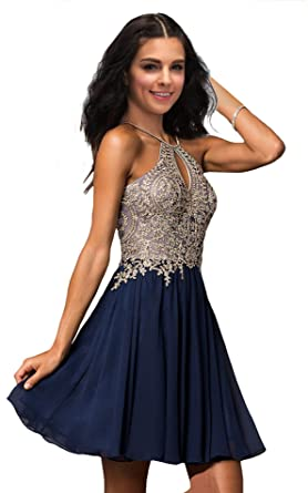 Lily Wedding Junior Halter Gold Applique Prom Dresses 2019 Short Sleeveless Chiffon Homecoming Party Dress Navy Blue Size 8
