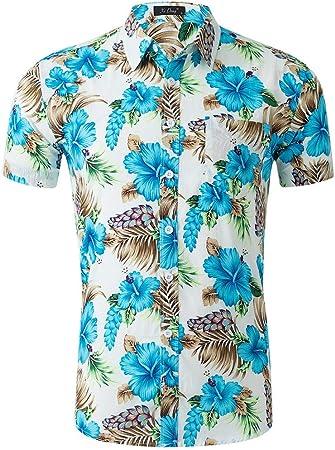 Camisas de los hombres Camisa hawaiana de manga corta para hombre Camisa playera de vacaciones de verano Camisa casual con cuello abotonado Camisa con cuello redondo y corte regular Manga corta: Amazon.es: