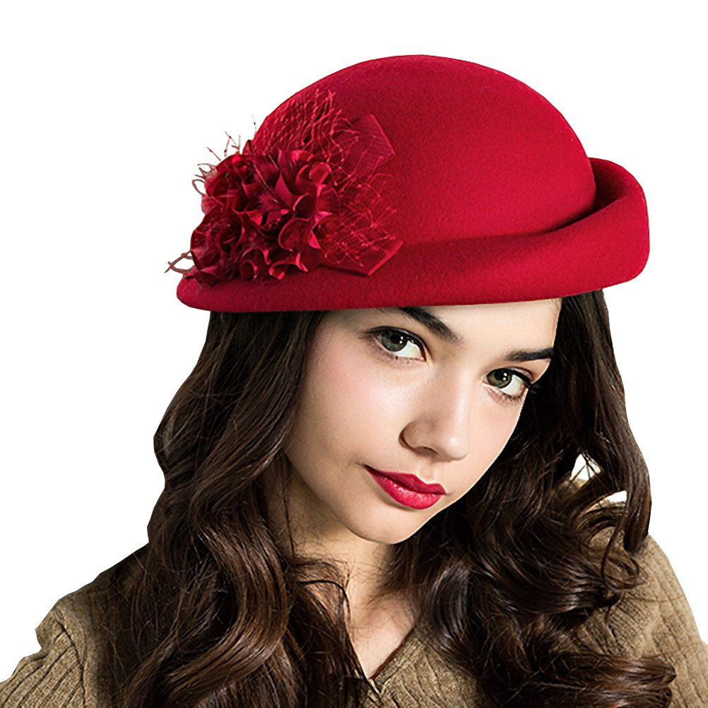 Maitose Women's Lace Flower Wool Beret Cap Red