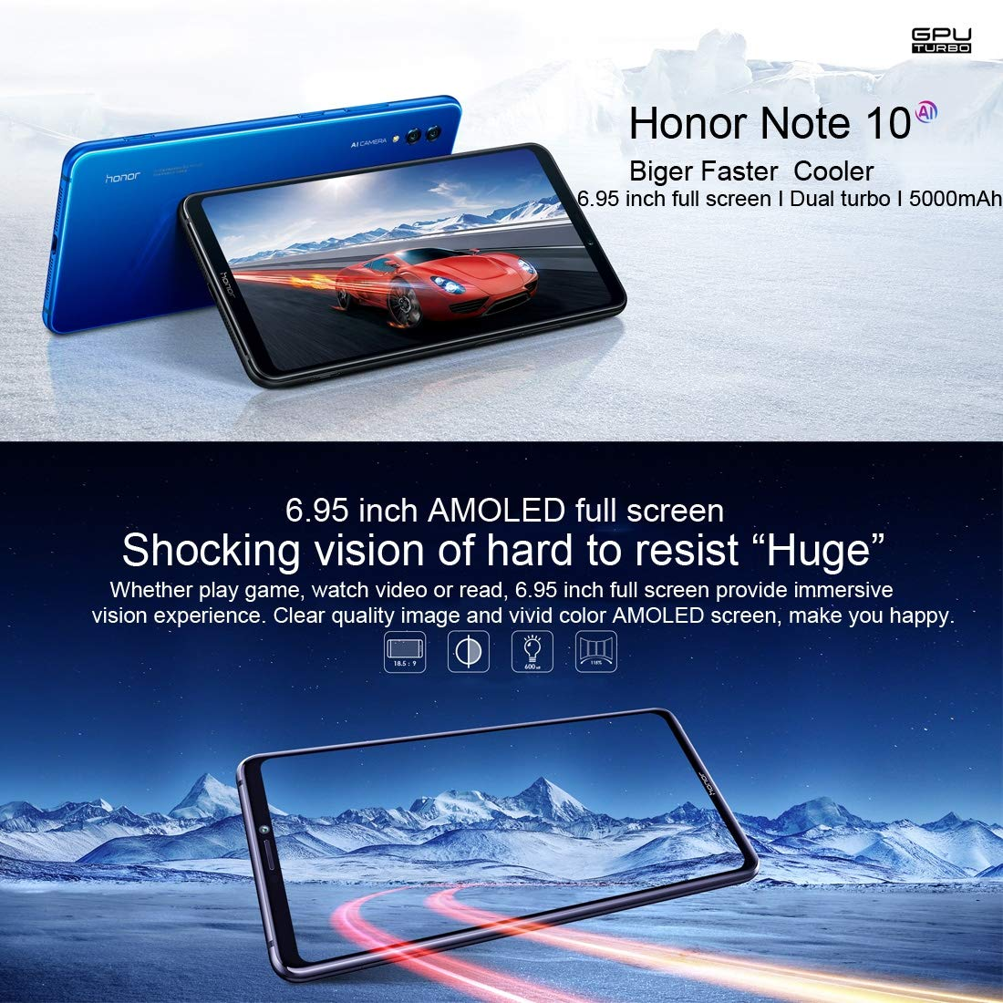 Amazon.com: Huawei Honor Note 10 6GB+64GB 5000mAh Battery 6.95 inch EMUI 8.2 (Android 8.1) Kirin 970 Octa Core GSM & WCDMA & FDD-LTE (Blue): Cell Phones & ...