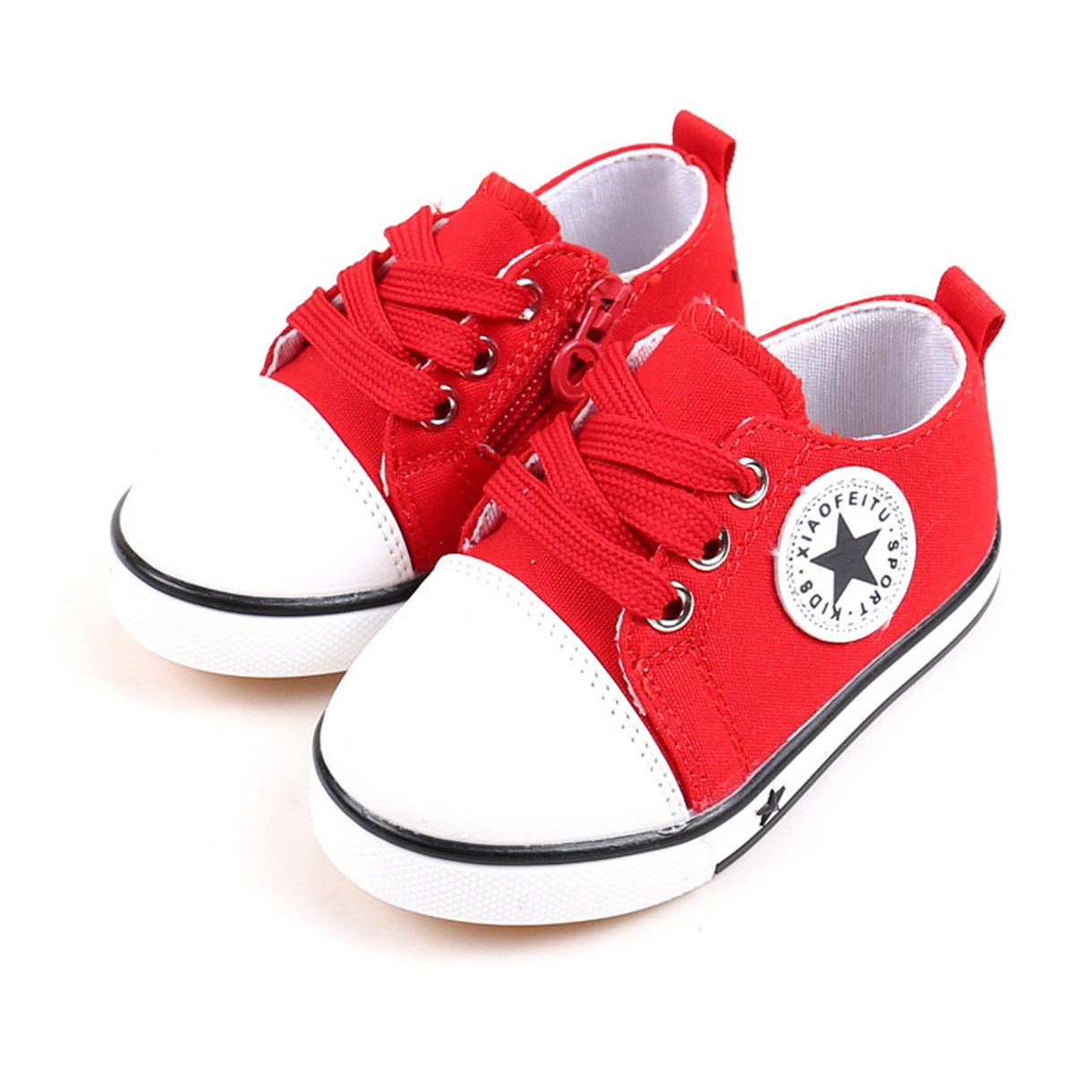 Tutoo Unisex Baby Boys Girls Shoes Kids Canvas Toddler Child Soft Sole Fashion Sneakers … (5.5 M U.S Toddler, A-red)
