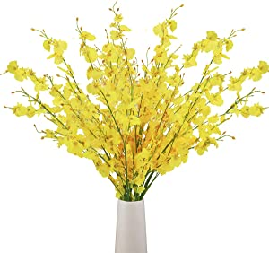BOMAROLAN Artificial Orchid Silk Fake Flowers Faux Dancing Lady Orchids Stems Flower 10 Pcs Real Touch for Wedding Home Office Party Hotel Yard Decoration Restaurant Patio Festive Furnishing(Yellow)