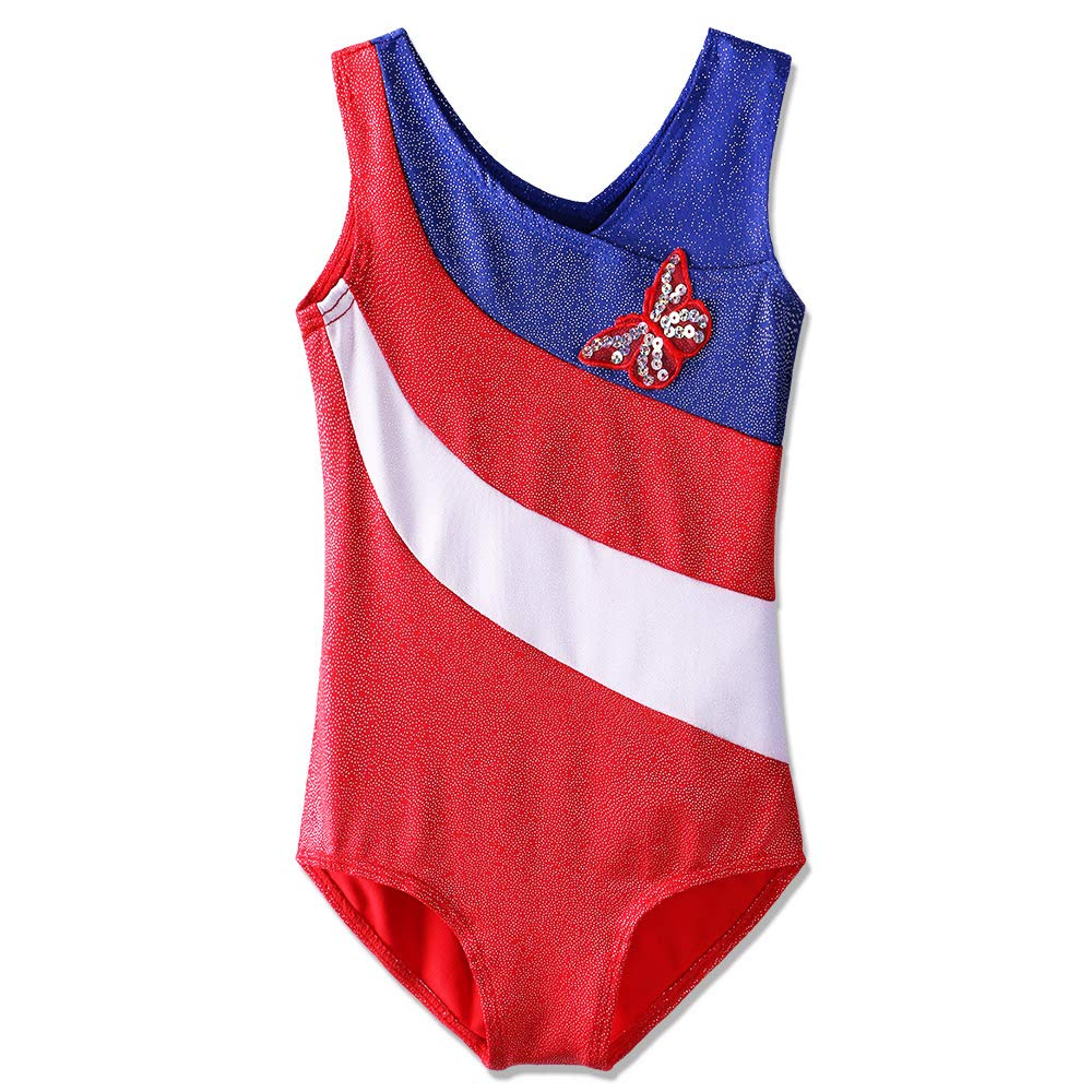 Metallic Gymnastics Leotard Toddler Girls Sparkle Stripes Athletic Dance Outfit BAOHULU