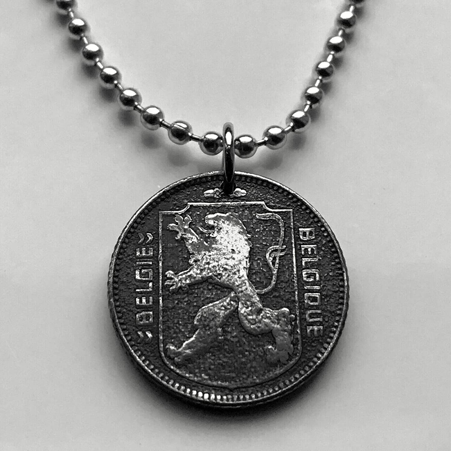 44th Anniversary art.473. 44th Birthday Gift Vintage Belgium Coin Pendant made from Genuine 1973 1 franc Coin