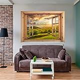 decomonkey optische t uschung weitblick fensterblick 3d wandillusion ca 140x100 cm wandbild. Black Bedroom Furniture Sets. Home Design Ideas