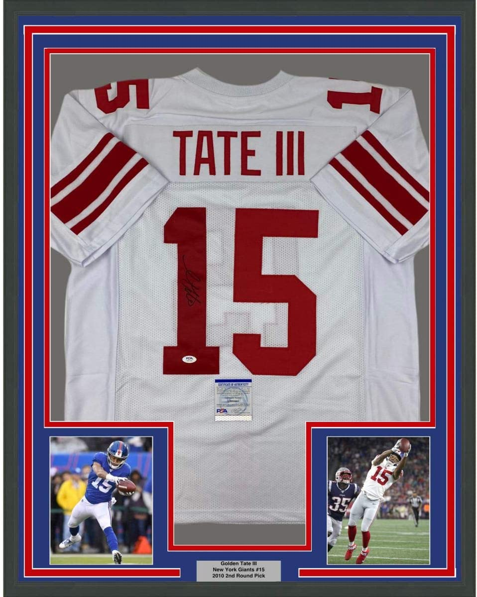 Framed Autographed/Signed Golden Tate III 33x42 New York White ...