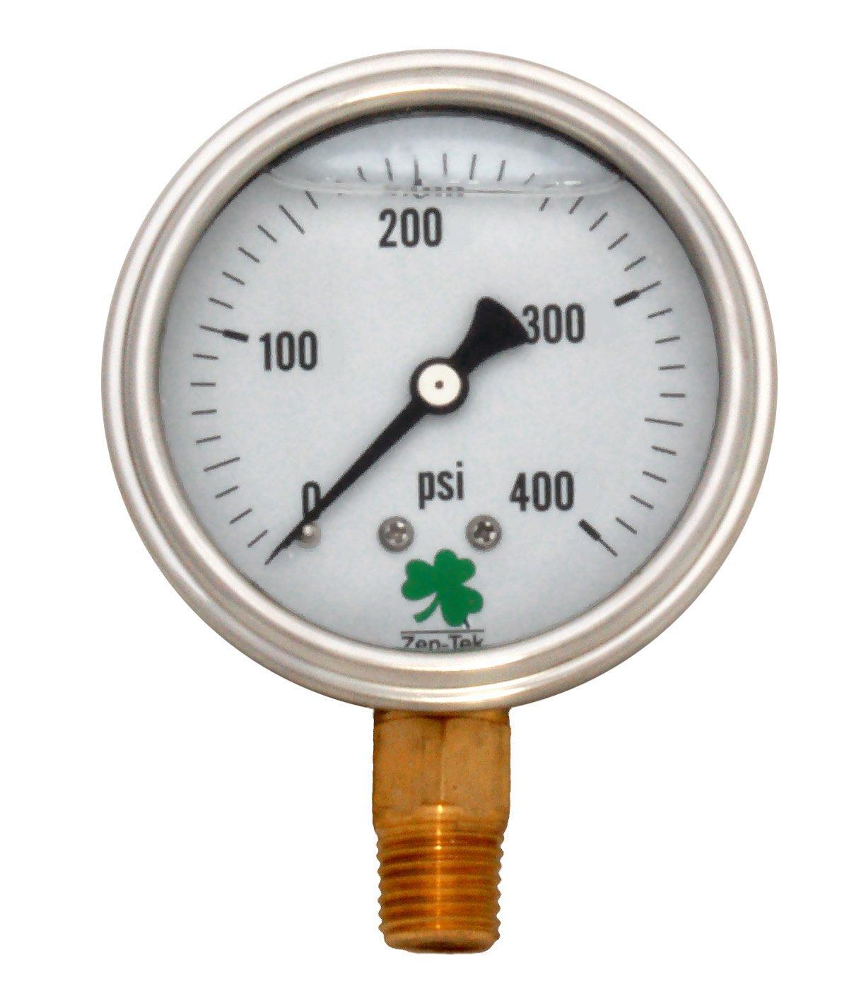 Zenport LPG400 Zen-Tek Glycerin Liquid Filled Pressure Gauge, 400 PSI