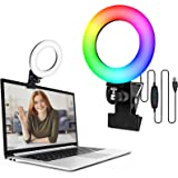 """Video Conference Lighting,6.3"""" Selfie Ring Light with Clamp Mount for Video Conferencing,Webcam Light with 3 Light Modes&6 Le"""