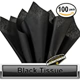 "100 pc Mighty Gadget (R) Solid Black Tissue Wrapping Paper - 15"" x 20"""