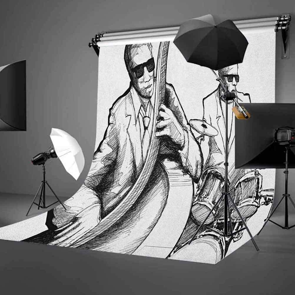 9x16 FT Jazz Music Vinyl Photography Backdrop,Illustration of a Jazz Band Musicians Playing Drum Music Concert Performance Background for Party Home Decor Outdoorsy Theme Shoot Props
