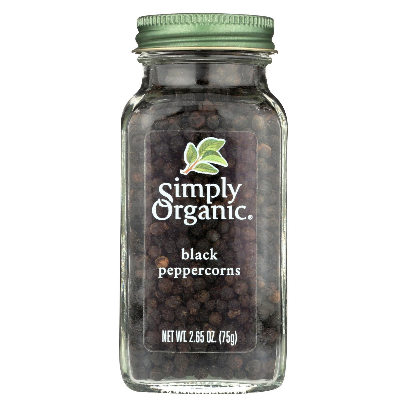 Simply Organic Black Whole Peppercorns Seasoning, 2.65 Ounce - 6 per case.