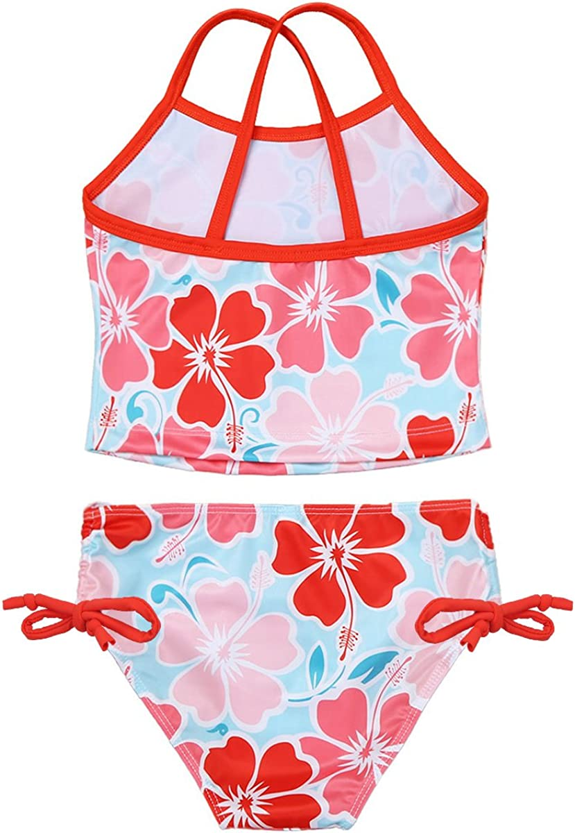 dPois Kids Girls Floral Printed 2PCS Tankini Set Swimsuit Swimwear Bathing Suit Camisole Tops with Tie Side Bottoms