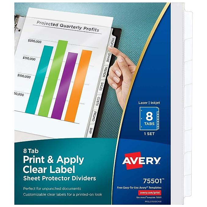 Amazon Avery 8 Tab Sheet Protectors Dividers Printable Easy