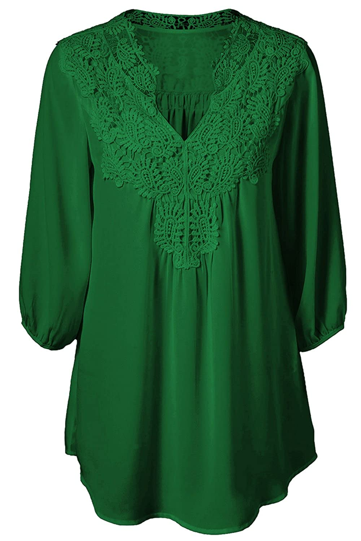 Women Summer V Neck Half Sleeve Pleated Lace Chiffon Shirt Tops Tee Plus Size CAMEG1321