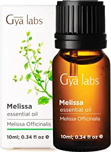 Gya Labs Melissa Essential Oil - for Healthier Skin, Restful Sleep & Stress Free Days (10ml) - 100% Pure Natural Therapeutic Grade Melissa Oil Essential Oils for Aromatherapy Diffuser & Topical Use