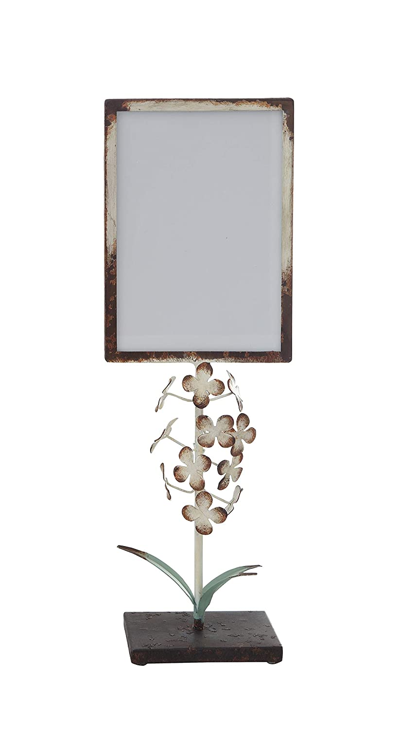 Creative Co-op Small Distressed Metal Tole Flowers on Stand (Holds 5' x 7') Photo Frame, 5 Inch x 7 Inch, Blue