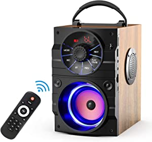 EIFER Portable Bluetooth Speaker Subwoofer Heavy Bass Wireless Outdoor Party Speaker MP3 Player Line in Speakers Support Remote Control FM Radio TF Card LCD Display for Home Party Phone Computer PC