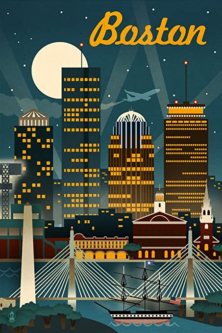 GREETINGS FROM NEW YORK CITY LANDMARKS BRIDGE USA TRAVEL VINTAGE POSTER REPRO