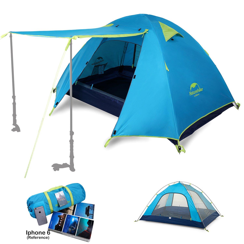 Naturehike Camping Zelte 2 3 4 Mann Personen Wasserdichtes, Kuppelzelt Trekkingzelt Familienzelt mit Aluminium Ruten für Outdoor Backpacking Klettern Strand Jagd Wandern Reisen