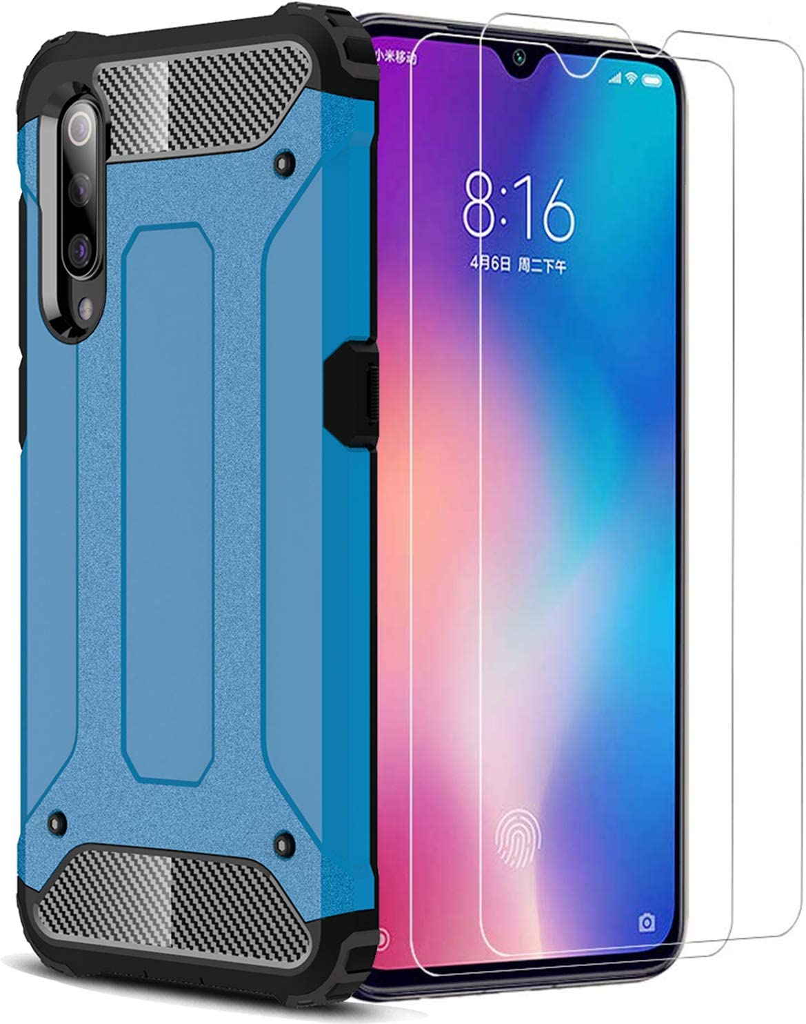 XIFAN Funda para Xiaomi Mi 9, Protección contra Golpes de TPU + PC Resistente a arañazos Doble Capa Funda Carcasa para Xiaomi Mi 9, Azul + 2 Piezas Protector de Pantalla