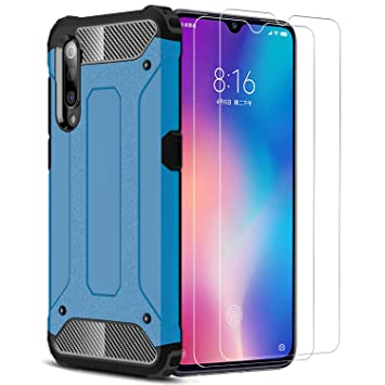 XIFAN Xiaomi Mi 9 Funda, protección contra Golpes de TPU+PC Resistente a arañazos(Doble Capa), Funda Carcasa para Xiaomi Mi 9, Azul + 2 Piezas ...