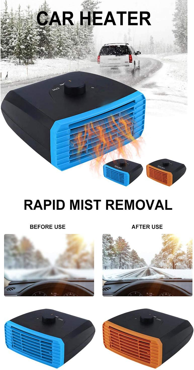 Portable Car Heater Defroster,BessieSparks 12V//24V Auto Fast Heater /& Cooling Fan,120W//150W Ceramic Heater 2-In-1 Windshield Demister