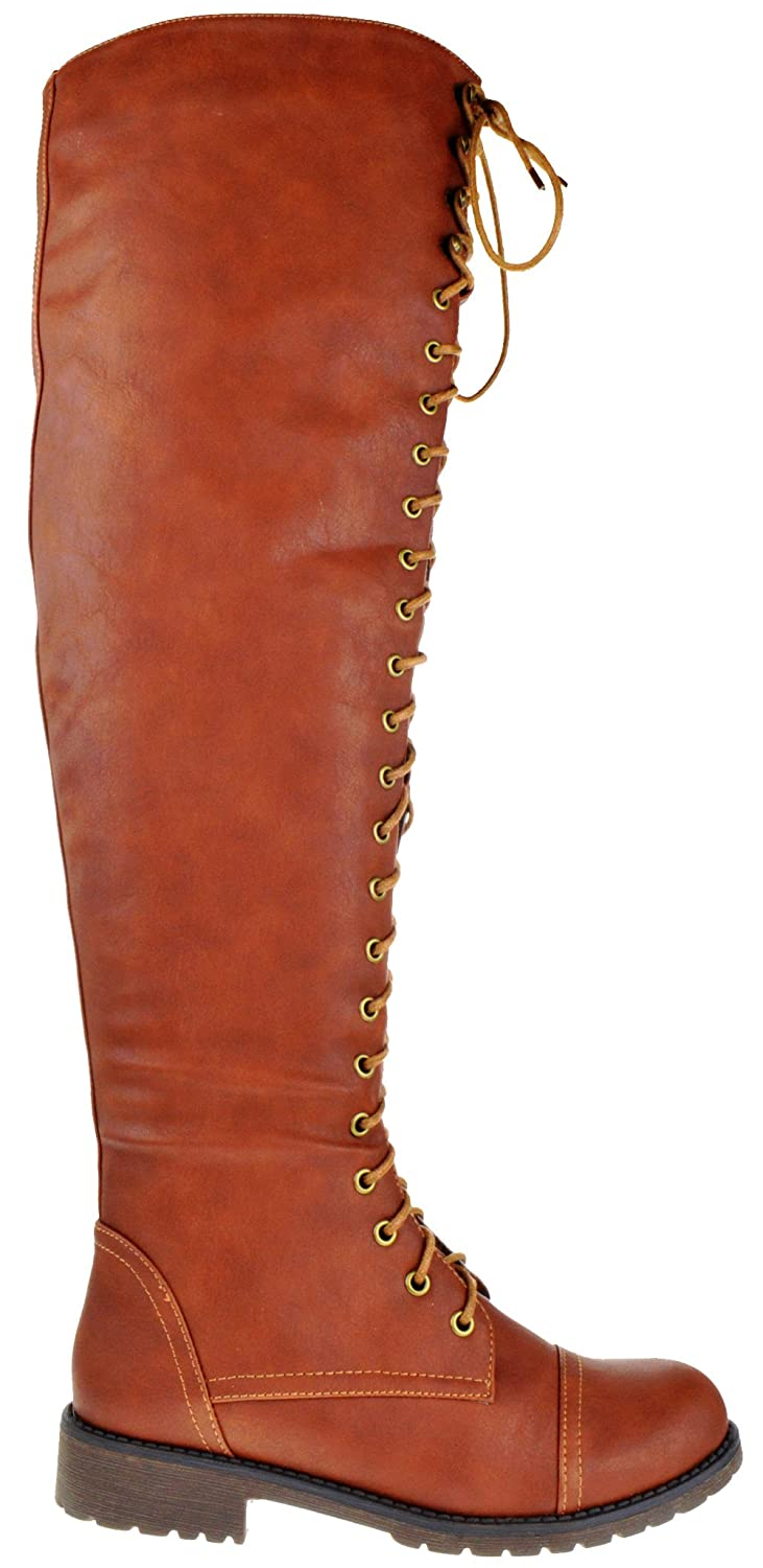 Steampunk Boots & Shoes, Heels & Flats Shoe Dezigns Rider 33 Womens Thigh High Lace Up Combat Boots $24.99 AT vintagedancer.com