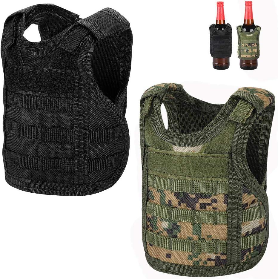 Accmor Tactical Mini Beer Vests, 2 Pack Molle Beer Jacket Camouflage Beverage Coolie Cooler Adjustable Drink Bottle Vests Holder for 12oz or 16oz Cans or Bottles Decoration