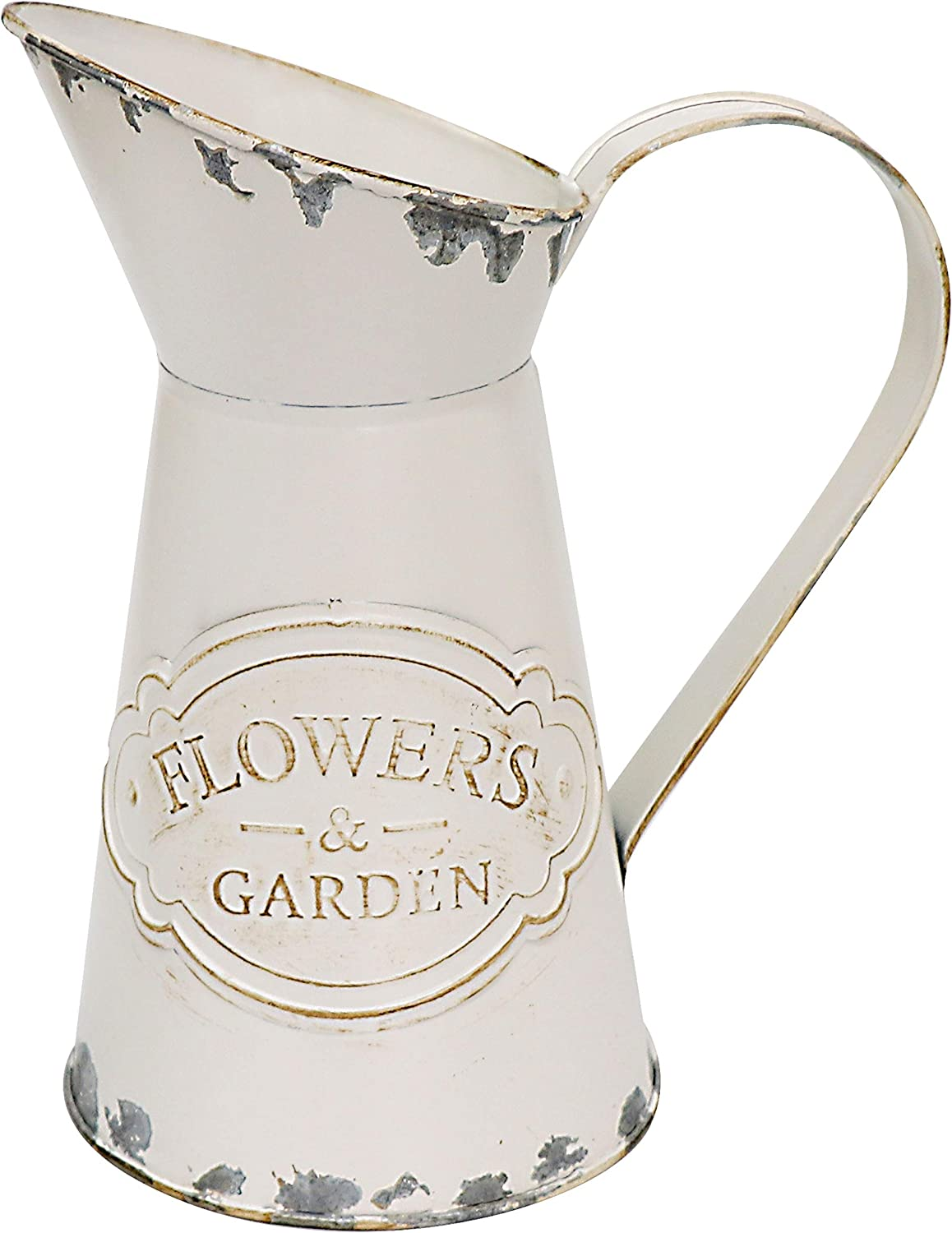 "Soyizom Vintage French Pitcher Vase Farmhouse Decorative Pitcher Metal Rustic Vase Watering Milk Jug Can Galvanized Tin Decor Vase Country Primitive Jug for Flower Holder,White-Pitcher/8.9""-Small"