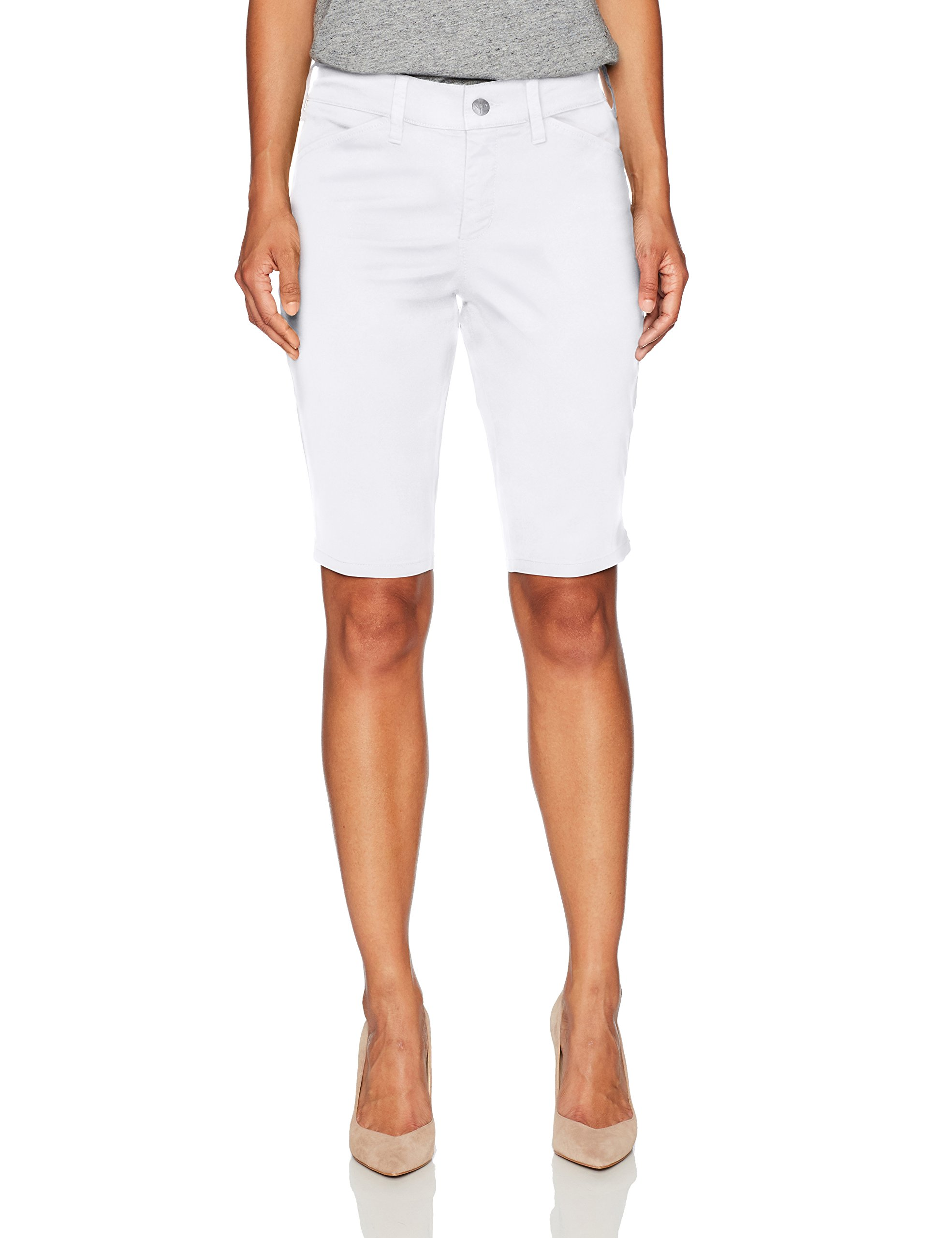 NYDJ Women's Petite Size Christy Chino Twill Bermuda Short, Optic White, 0P by NYDJ
