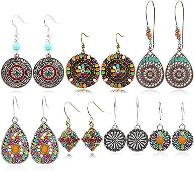 HYhy Faux Turquoise Earrings Square Shape Artificial Gemstone Bohemia Vintage Drop Dangle Earrings