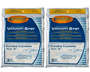 6 Eureka Allergy Style V Vacuum Bags, Power Team, Powerline, Canisters, World Vac, Home Cleaning System Vacuum Cleaners, 3800, 3900, 6700, 6800, 6865, 8000, 8200, 8900, 52358, 52358-12, 576898-12 (Filteraire), 54923-10, 6865