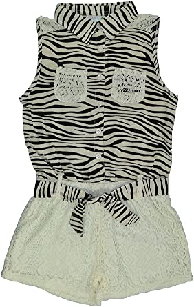 Pink House Little Girls Laced Bottom Romper with Print