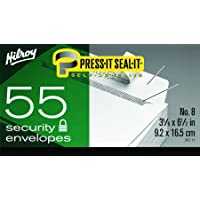 Hilroy Press-It Seal-It 36711 Security Envelopes, 3-5/8x6-1/2-Inch, Box of 55, White