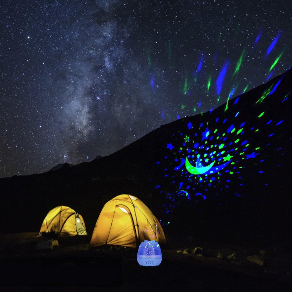 Bleu Fdit Lumi/ère de Nuit LED Projecteur USB Rechargeable Rotatif Lumi/ère Projection Ciel /étoile avec Musique Lampe D/écor pour Chambre B/éb/é Enfants Adultes
