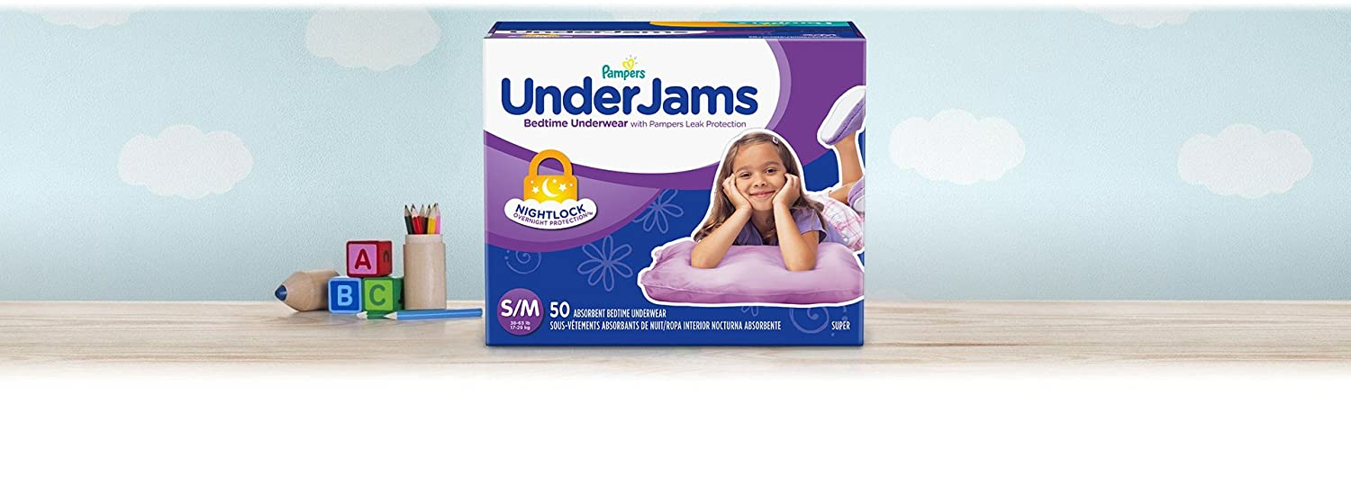 Pampers UnderJams Disposable Bedtime Underwear for Girls, Super Pack, Small/Medium (50 Count)