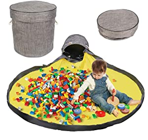 Toy Storage Bag and Play Mat, Toy Organization and Large Drawstring Portable Container, Large Indoor Room Play Mat for Kids (Gray)