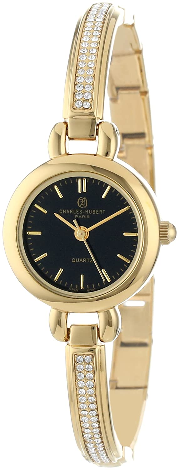 Charles-Hubert Paris Damen 6825-G Classic Collection Gold-Plated Black Dial Armbanduhr