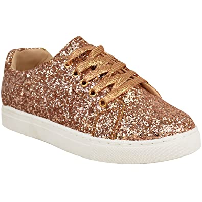 Damen Sneaker mit Schnürung - Schuhe im Glitzer-Look - Roségoldfarben Glitzer - EUR 41 7DDan