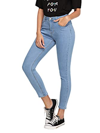 f8eeba0dc01b9 SheIn Women's High Waist Jeans Skinny Stretchy Denim Pants Blue Small