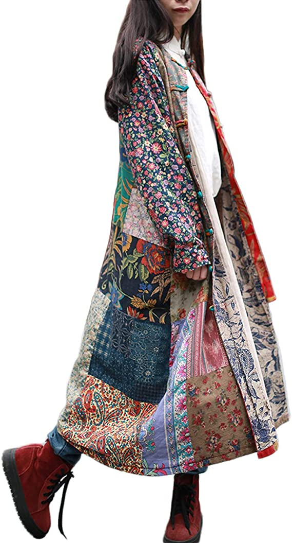 Cottagecore Clothing, Soft Aesthetic LZJN Womens Trench Coat Floral Print Jacket Chinese Style Patchwork Outwear $53.99 AT vintagedancer.com
