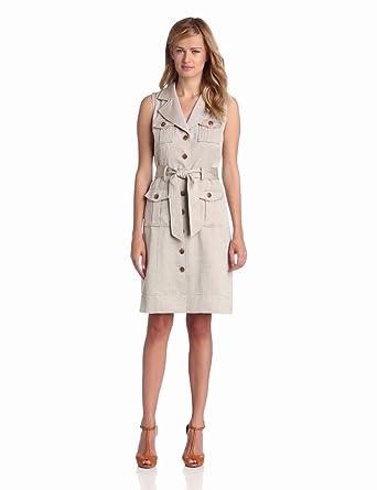 Anne Klein Women's A-line Safari Dress, Cocoa, 2