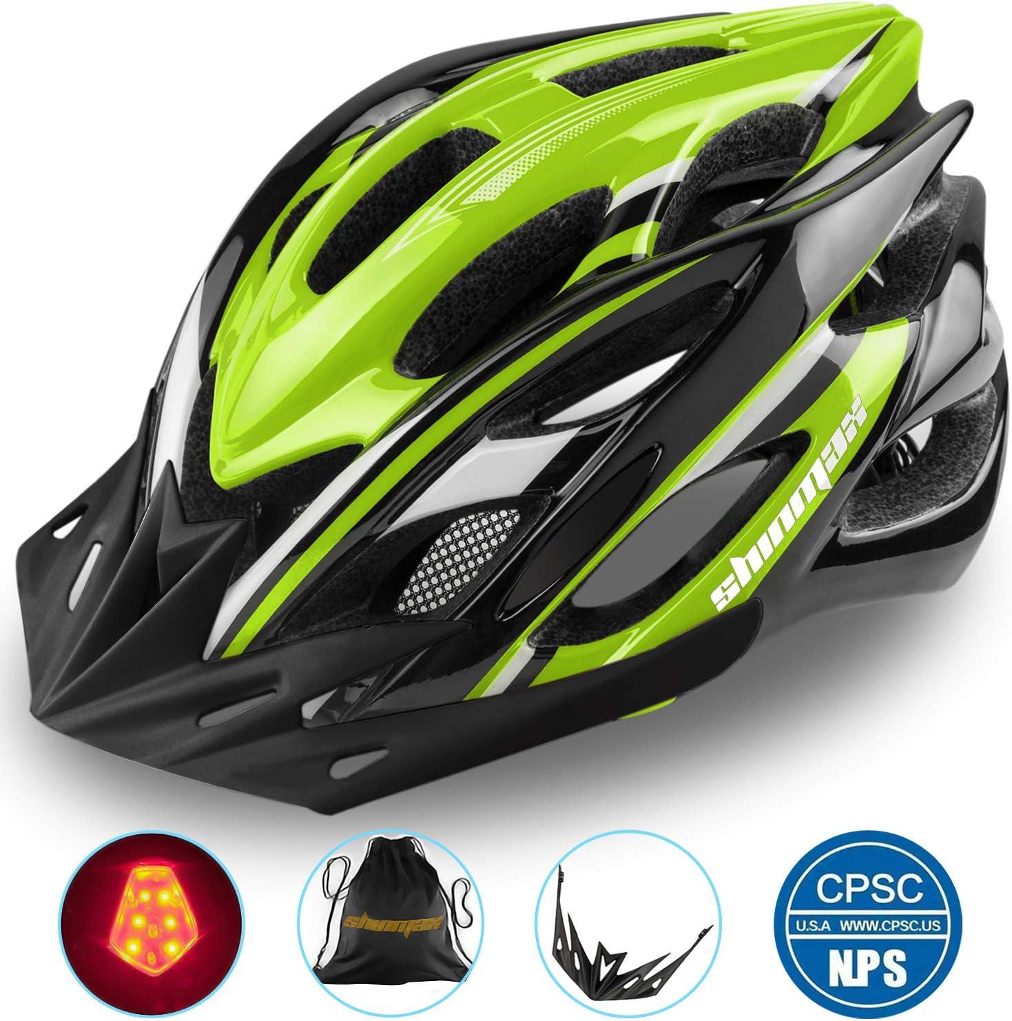 Shinmax Casco Bicicleta con Luz LED,Casco Bici de Ciclo Ajustable Deporte Cascos Bici Bicicleta Camino Mountain Biking Motocicleta Hombres Mujeres Adultos Casco