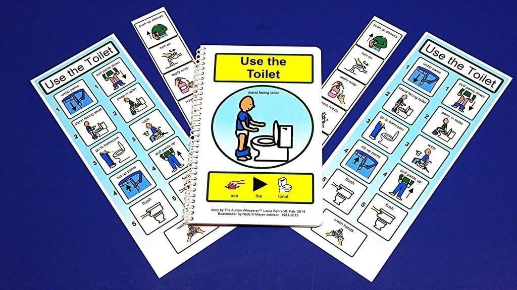 Boys' Potty Training Kit for Autism - PECS Visual Aid for Using the Toilet - Handwashing PECS - Boy Standing to go Potty Chart